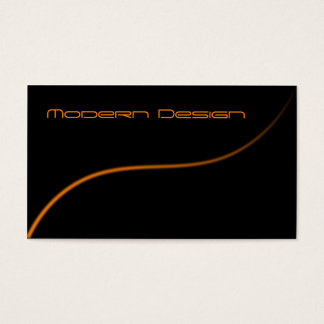 Simple Modern Black, Orange Swoosh - Business Card