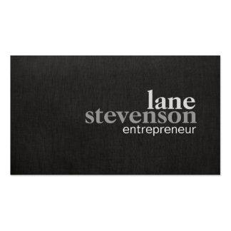 Simple Modern Bold Font Linen Look Black Business Card