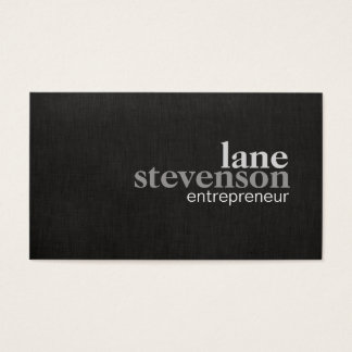 Simple Modern Bold Font Linen Look Black Business Card