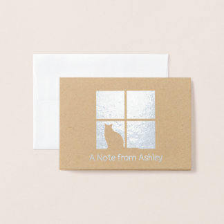 Simple Modern Cat Silhouette in Window Silver Real Foil Card
