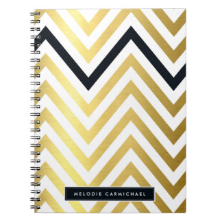 SIMPLE modern cute chevron pattern gold black Notebooks