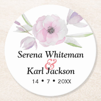 Simple modern drawn botanical floral wreath round paper coaster