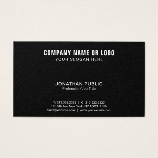 Simple Modern Elegant Black White Company Business Card