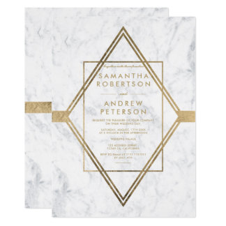 Simple modern faux gold diamond marble wedding card