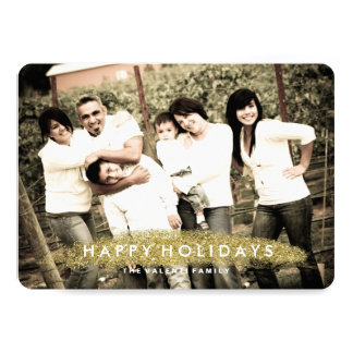 "Simple Modern Gold Glitter Photo Cards 5"" X 7"" Invitation Card"