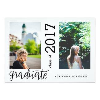 Simple Modern Graduate Handwritten Two Photos Card