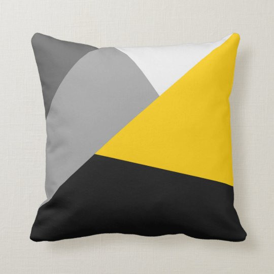 Simple Modern Grey Yellow and Black Geo Throw Pillow