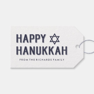 Simple Modern Happy Hanukkah with Star of David Pack Of Gift Tags