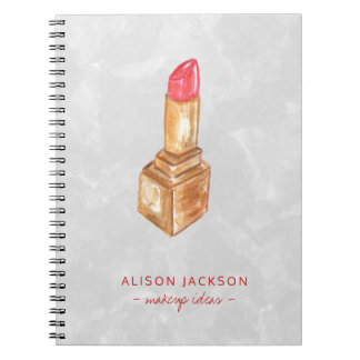 Simple modern minimalist lipstick watercolor spiral notebook