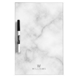 Simple Modern Minimalist White Marble Monogram Dry Erase Board