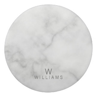 Simple Modern Minimalist White Marble Monogram Eraser