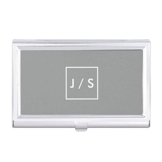 Simple Modern Monogram Grey Business Card Holder