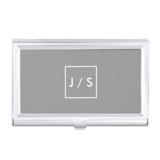 Simple Modern Monogram Grey Business Card Holders