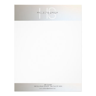 Simple Modern Monogram Professional Gray Silver Letterhead