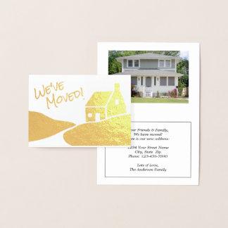Simple Modern New Address | We've Moved Gold Real Foil Card