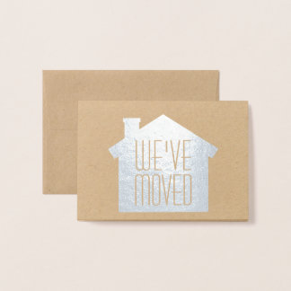 Simple Modern New Address We've Moved Silver Real Foil Card