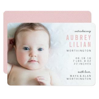 Simple Modern Photo Girl Birth Announcements
