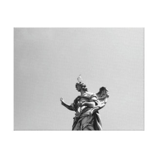 Simple, modern photo of seagull on top of statue canvas print