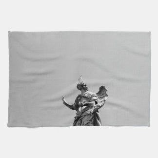 Simple, modern photo of seagull on top of statue kitchen towel