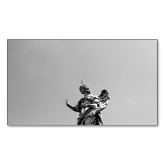 Simple, modern photo of seagull on top of statue 	Magnetic business card