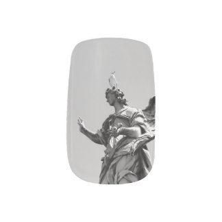 Simple, modern photo of seagull on top of statue minx nail art