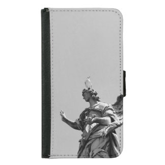 Simple, modern photo of seagull on top of statue samsung galaxy s5 wallet case