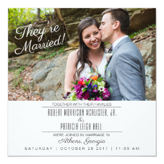 Simple Modern Photo Wedding Reception Invitation