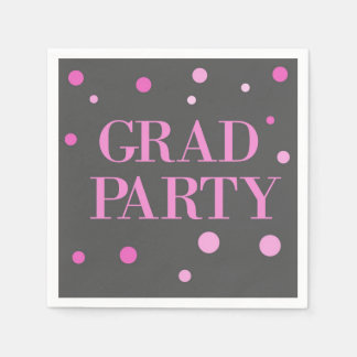 Simple Modern Pink and Gray Graduation Party Napkin