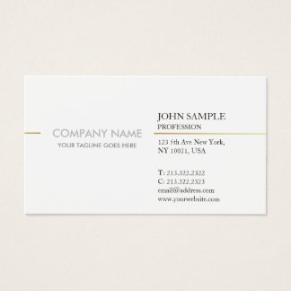 Simple Modern Professional Elegant White Gold Business Card