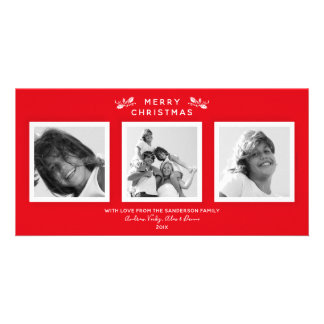 Simple Modern Red + White Merry Christmas 3 Photo Card