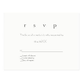 Simple modern rsvp wedding postcards