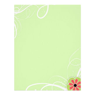 Simple Modern Swirl Stationery with Flower Letterhead