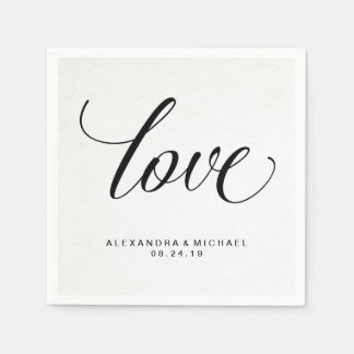 Simple Modern Typography Love on Watercolor Paper Paper Napkin