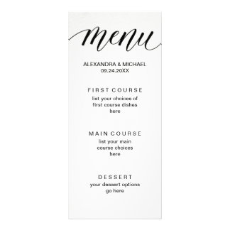 Simple Modern Typography on Watercolor Paper Menu Full Color Rack Card