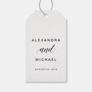 Simple Modern Typography Wedding Favor Gift Tags