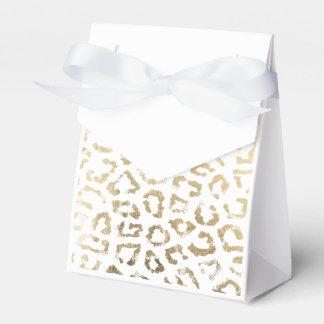 Simple modern white chic faux gold cheetah print favor box