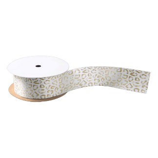 Simple modern white chic faux gold cheetah print satin ribbon