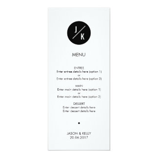 Simple monochrome circle wedding menu card