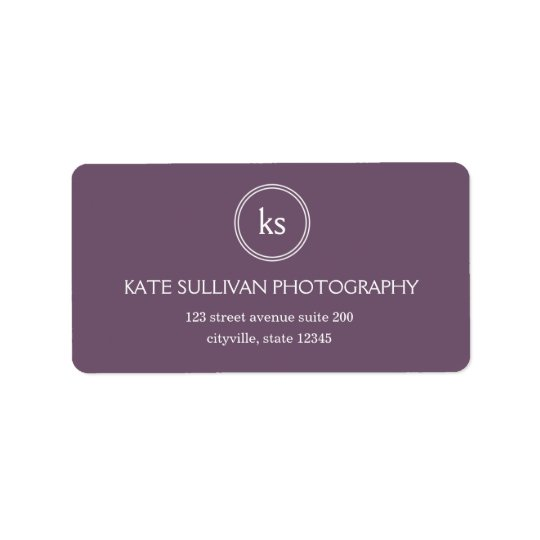 Simple Monogram Address Label