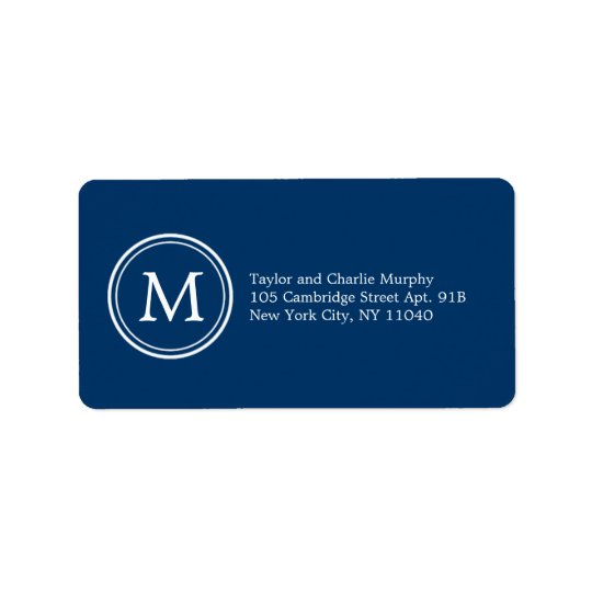 Simple Monogram Address Labels Customizable Colour