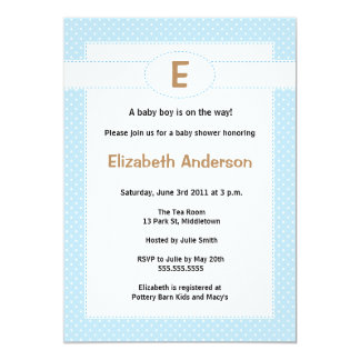 Simple Monogram Baby Shower Invitation - Boy
