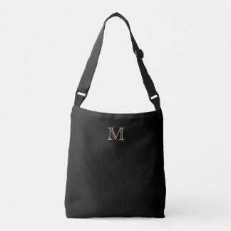 Simple Monogram Black Crossbody Bag