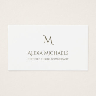 Simple Monogram Certified Public Accountant Business Card