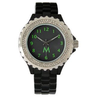 Simple Monogram Green Watch