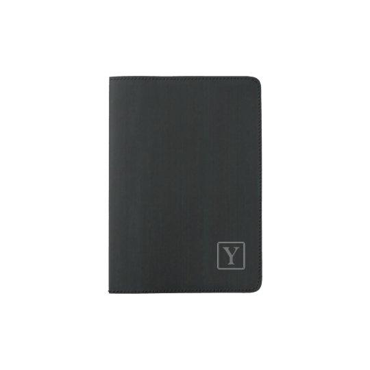 Simple Monogram In Dark Grey Frame Passport Holder