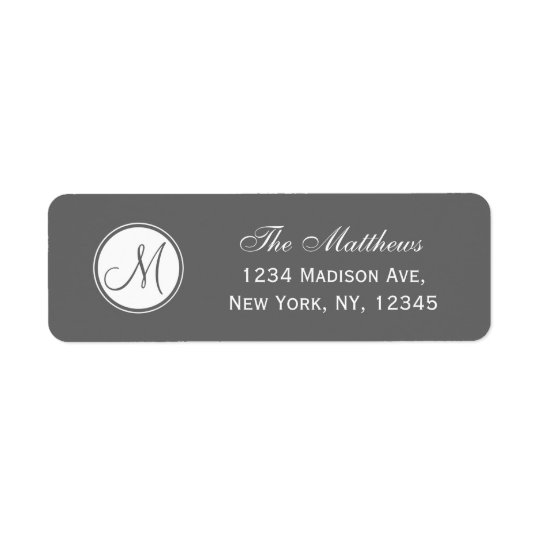 Simple Monogram Initial Grey Return Address Label