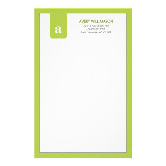 Simple Monogram Lime Green Designer Stationery