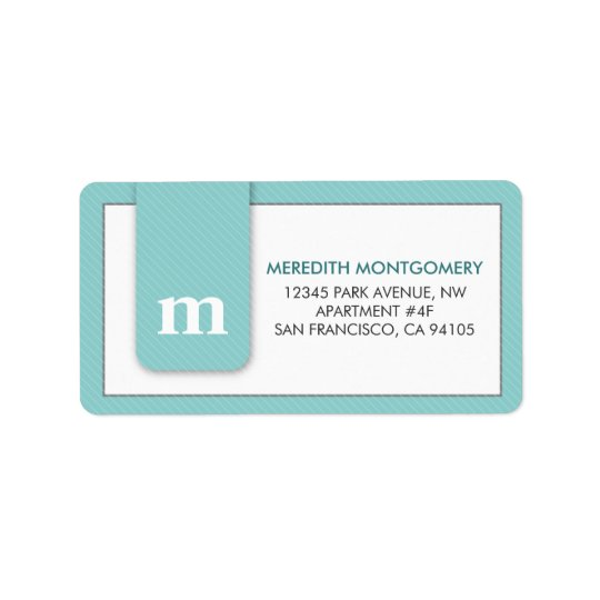 Simple Monogram Mint Green Designer Address Label