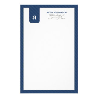 Simple Monogram Navy Blue Designer Stationery