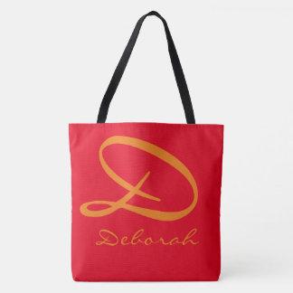 simple monogram on hot_red tote bag